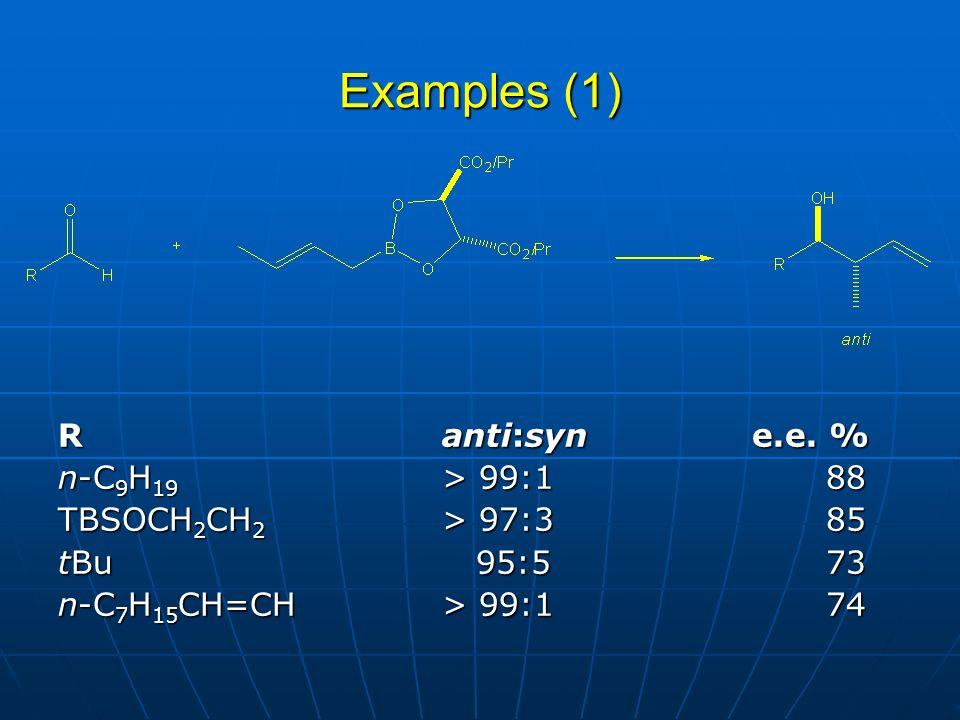 Examples (1) R anti:syn e.e. % n-C9H19 > 99:1 88