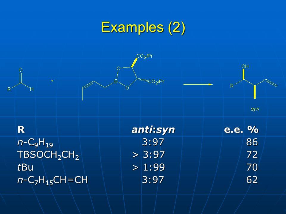 Examples (2) R anti:syn e.e. % n-C9H19 3:97 86 TBSOCH2CH2 > 3:97 72