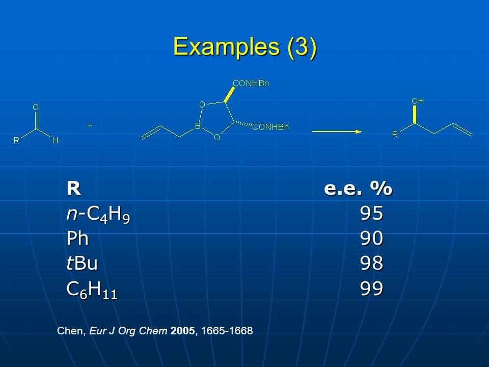 Examples (3) R e.e. % n-C4H9 95 Ph 90 tBu 98 C6H11 99