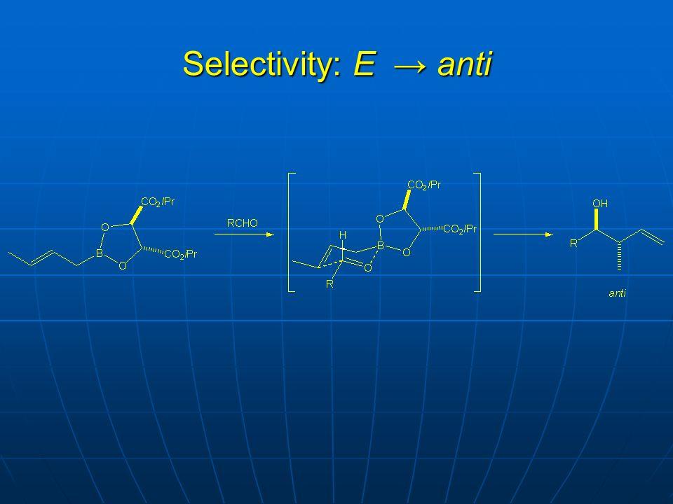 Selectivity: E → anti