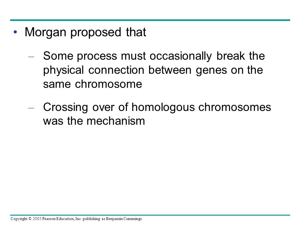 Morgan proposed that Some process must occasionally break the physical connection between genes on the same chromosome.