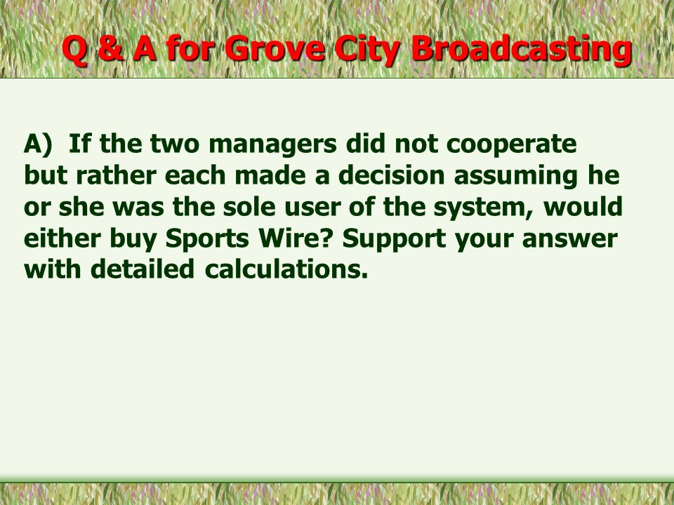 Q & A for Grove City Broadcasting