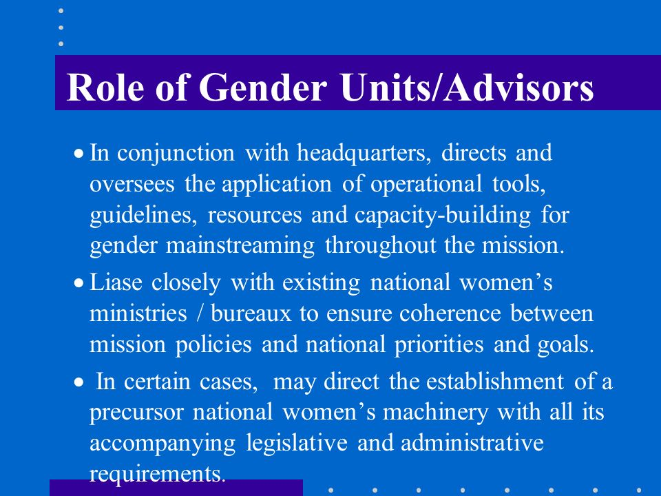 Role of Gender Units/Advisors