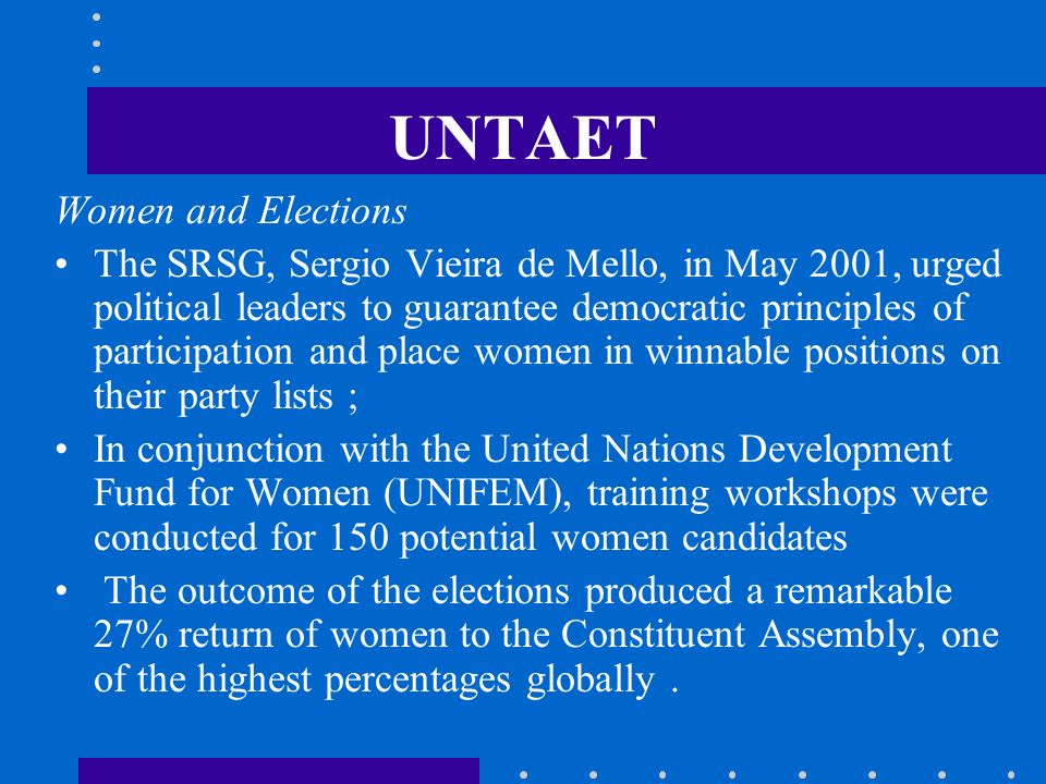 UNTAET Women and Elections
