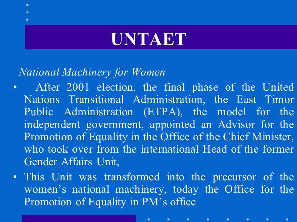 UNTAET National Machinery for Women