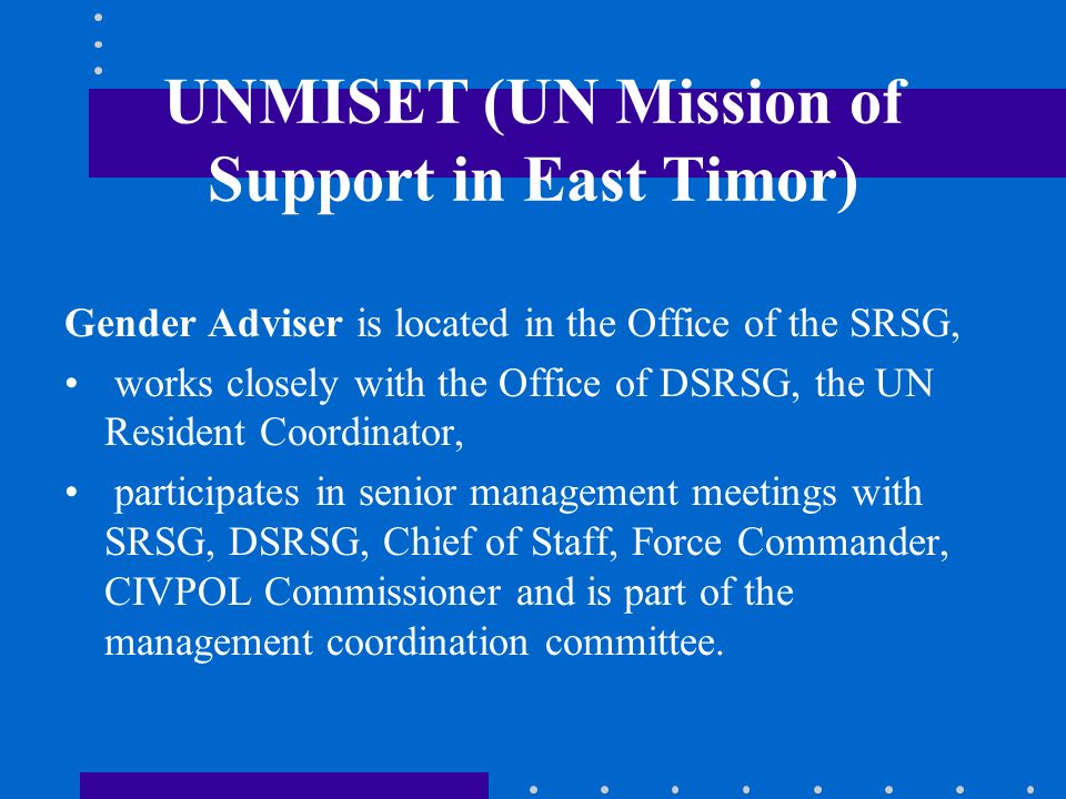 UNMISET (UN Mission of Support in East Timor)