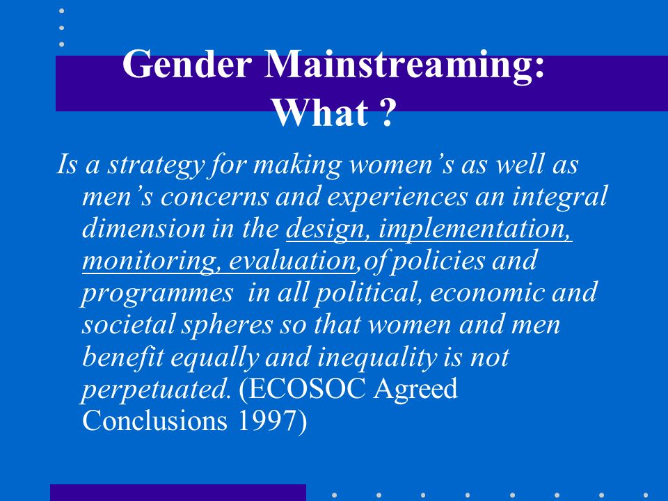 Gender Mainstreaming: What