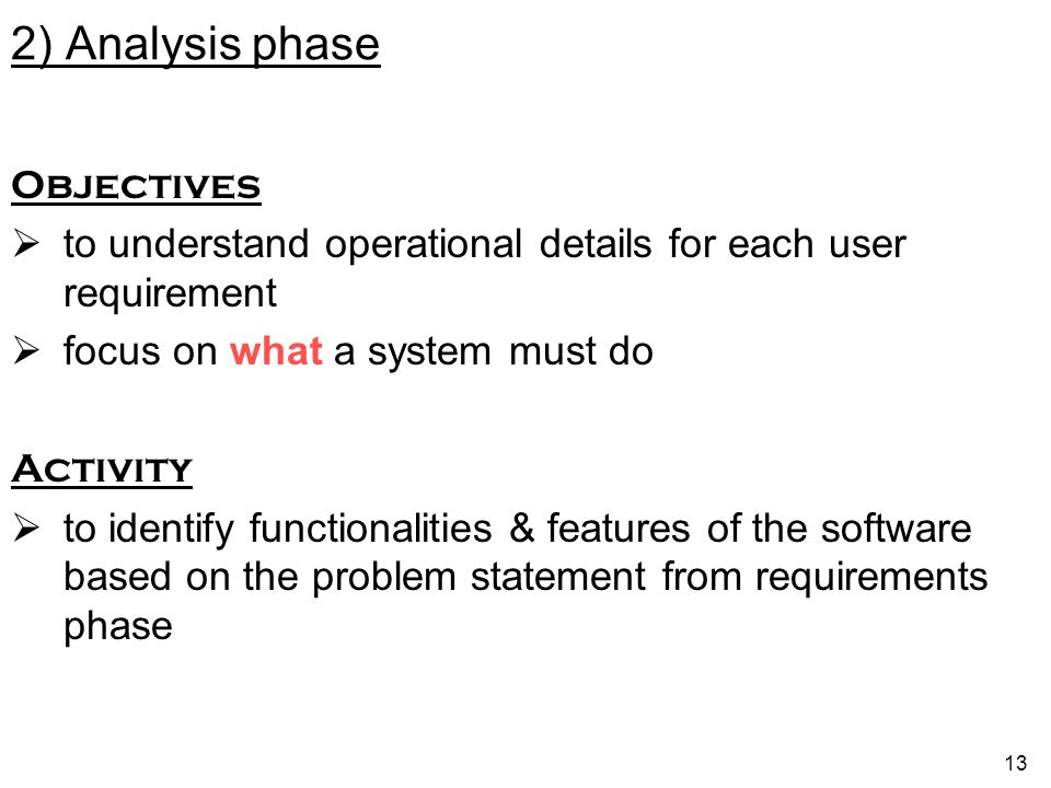 2) Analysis phase Objectives