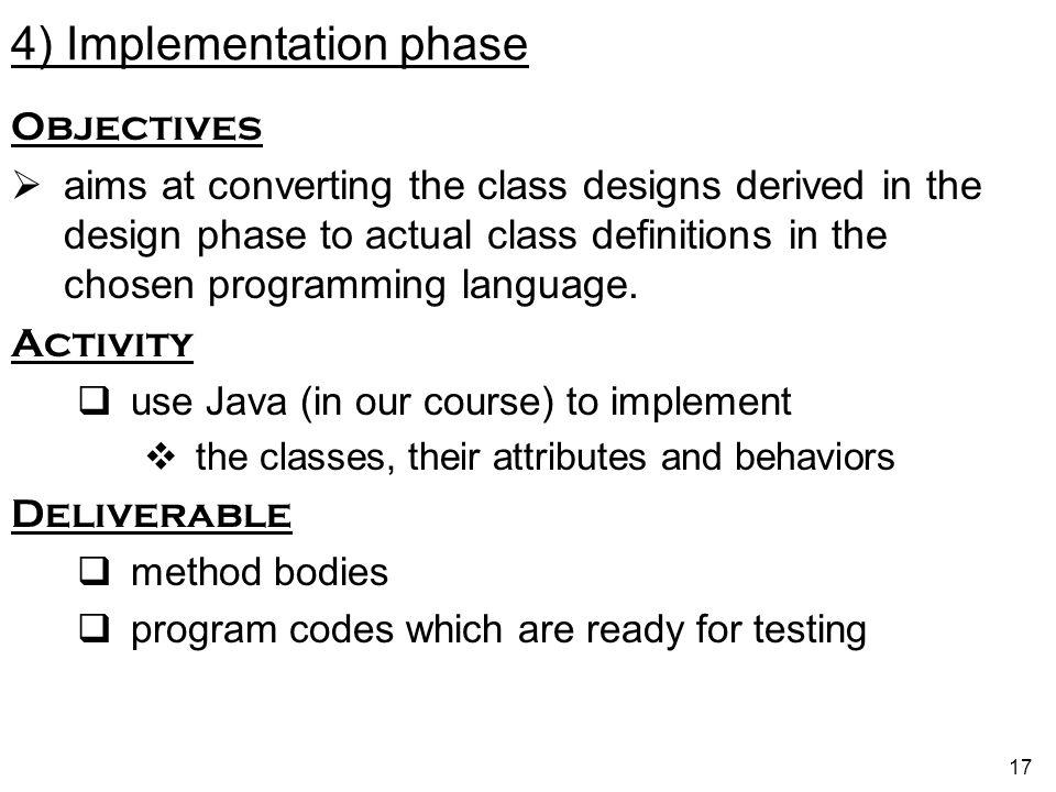 4) Implementation phase