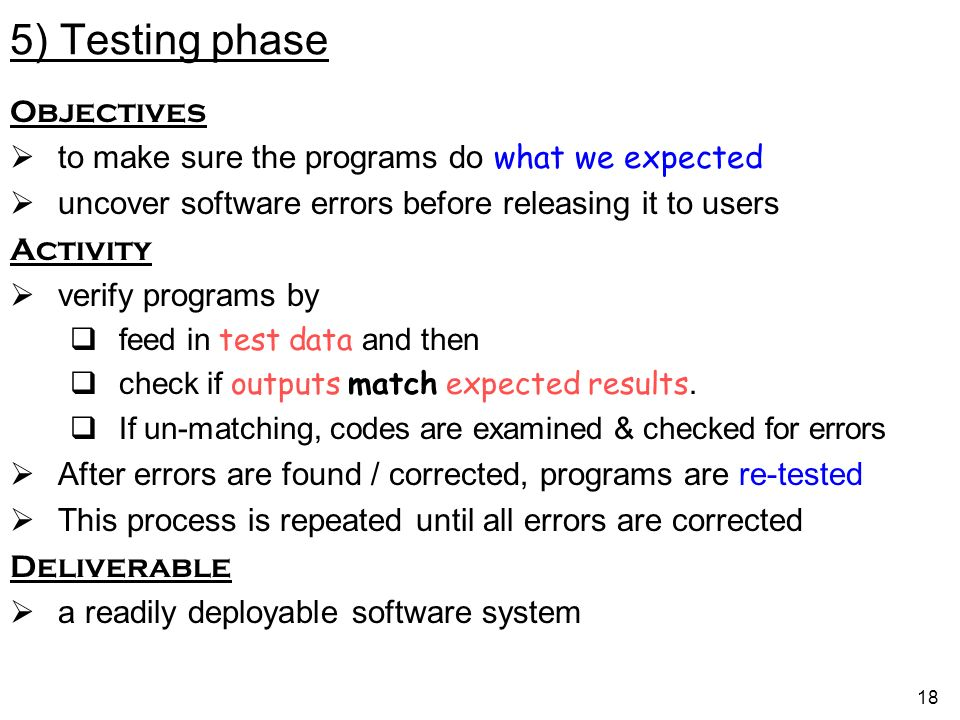 5) Testing phase Objectives
