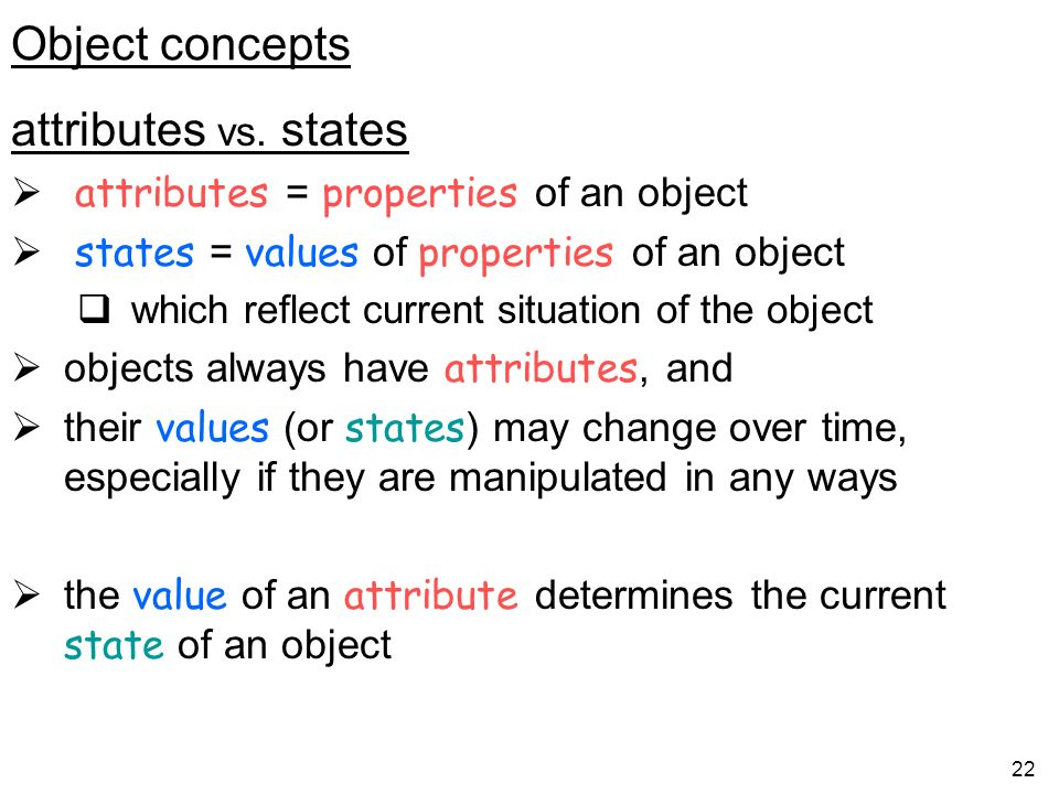Object concepts attributes vs. states