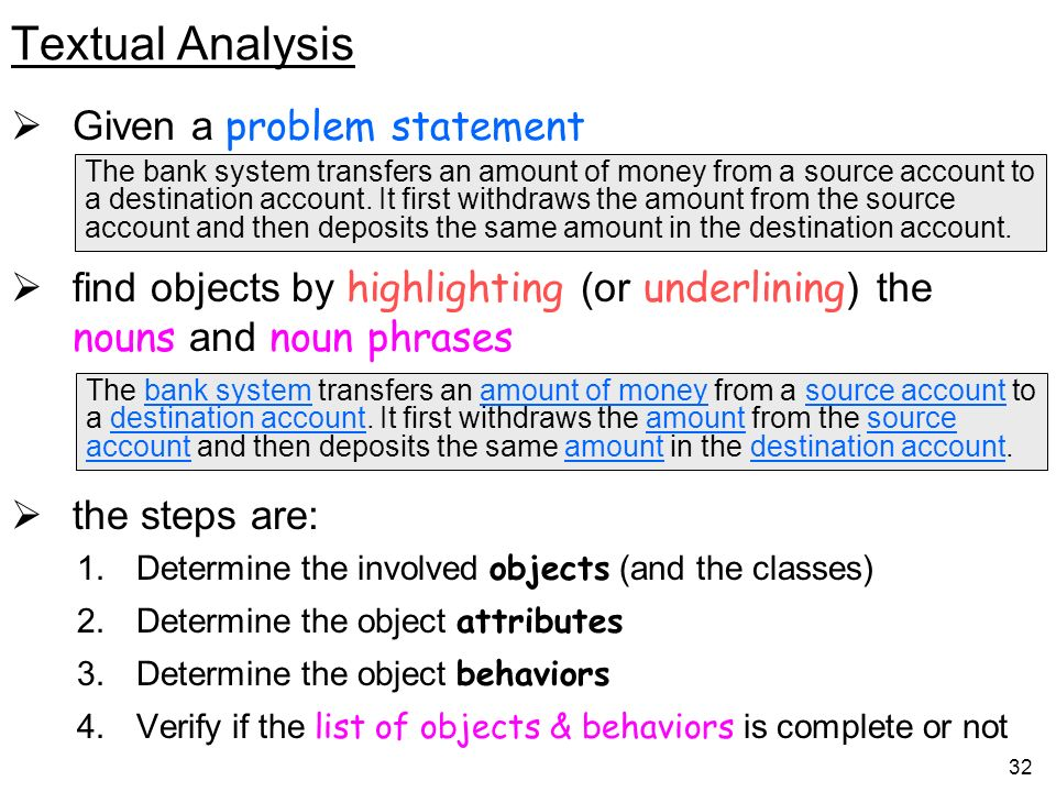 Textual Analysis Given a problem statement