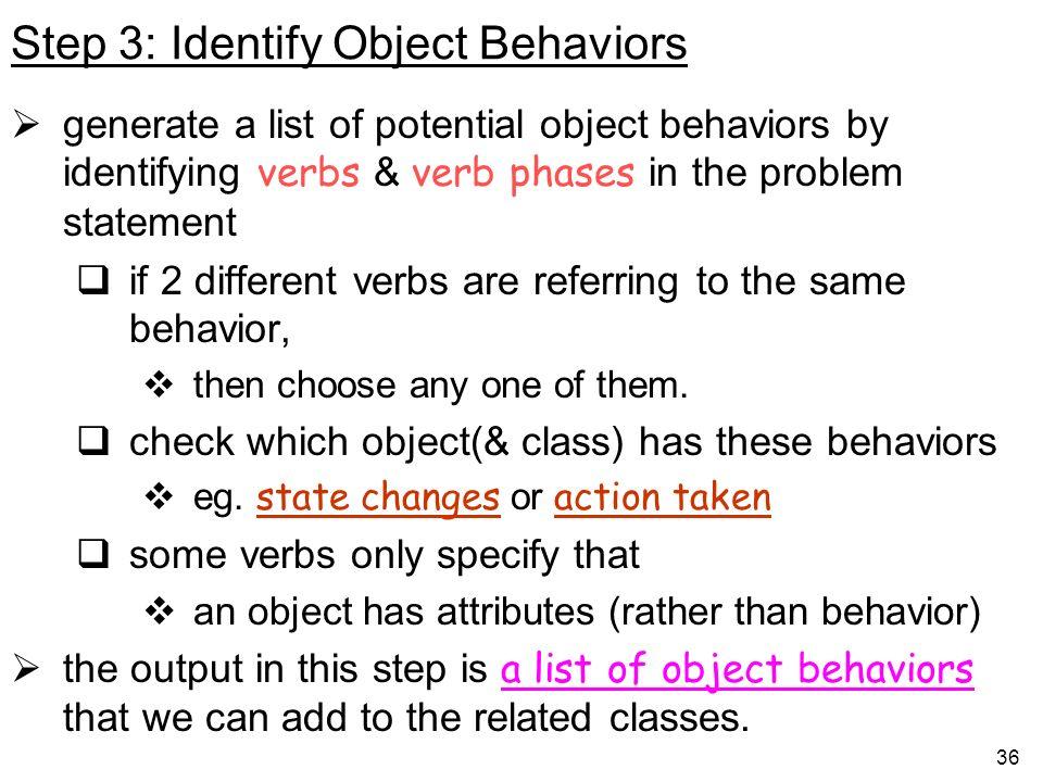 Step 3: Identify Object Behaviors