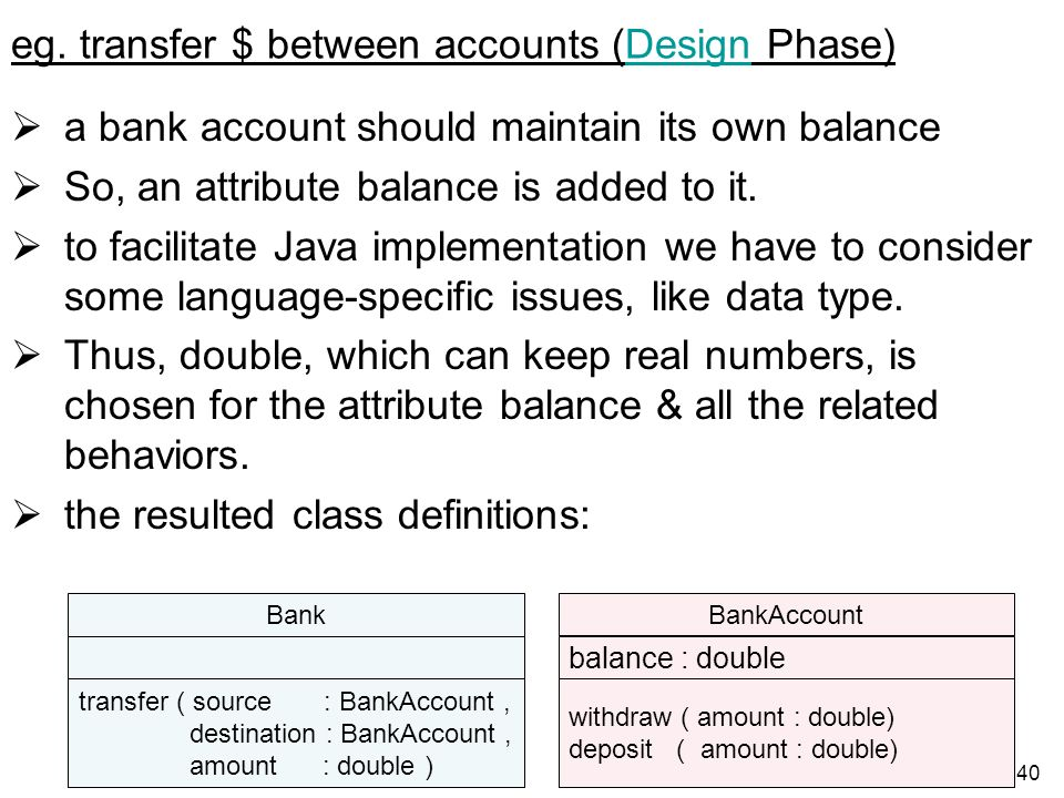 eg. transfer $ between accounts (Design Phase)