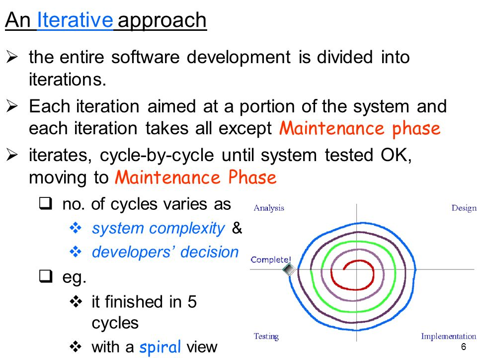 An Iterative approach the entire software development is divided into iterations.
