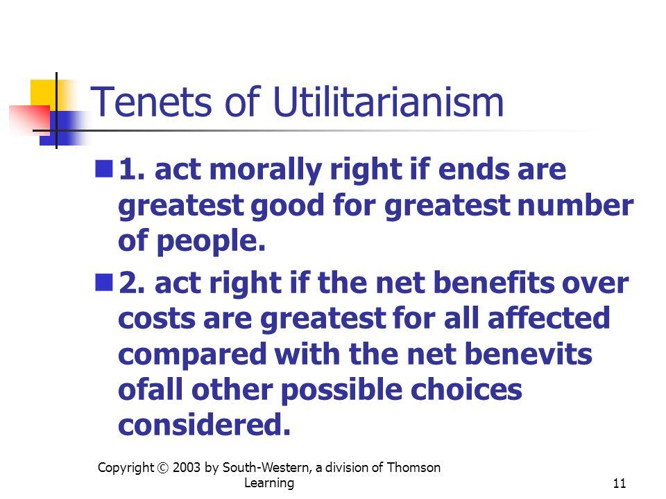 Tenets of Utilitarianism