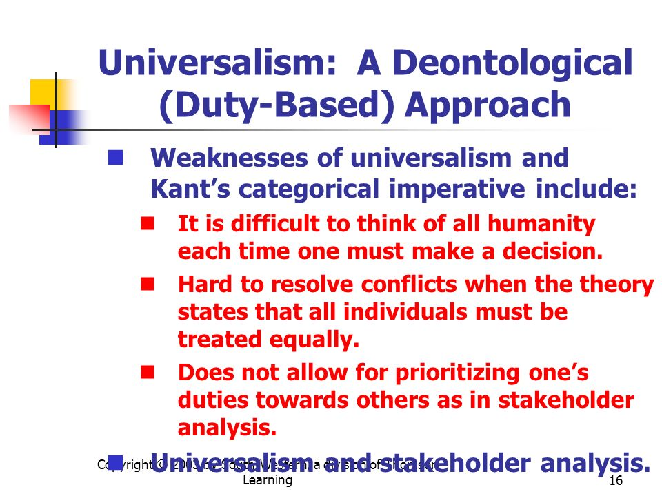 Universalism: A Deontological (Duty-Based) Approach