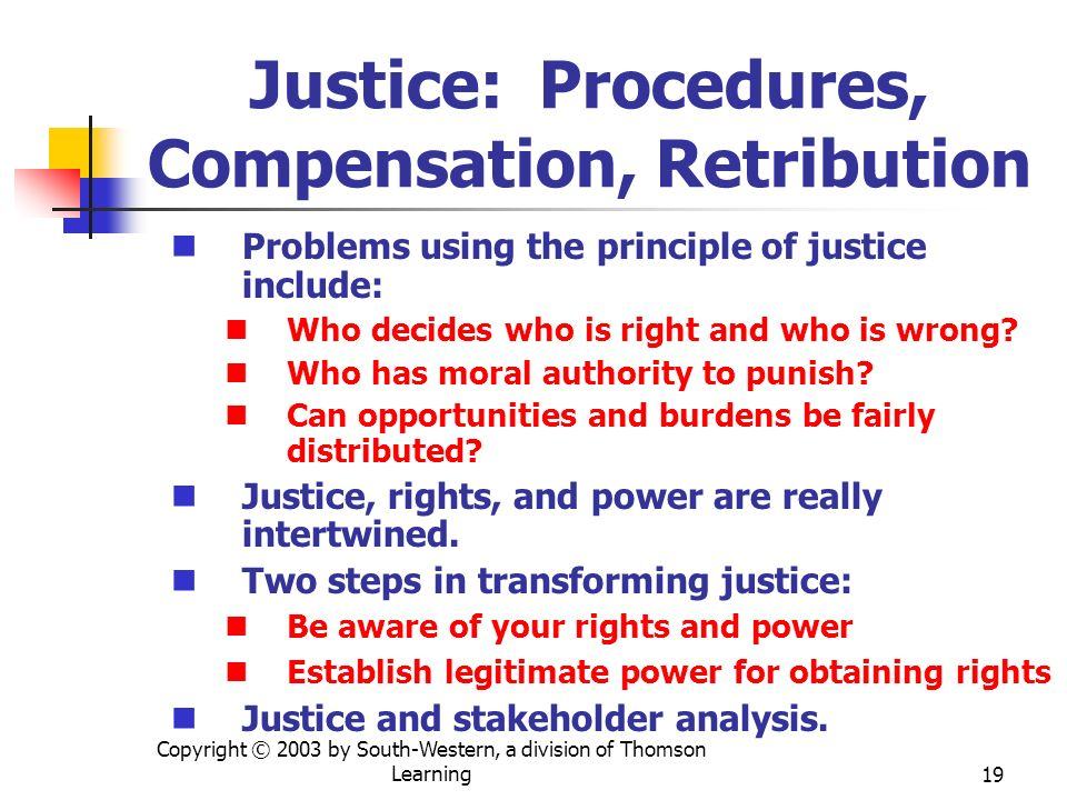Justice: Procedures, Compensation, Retribution