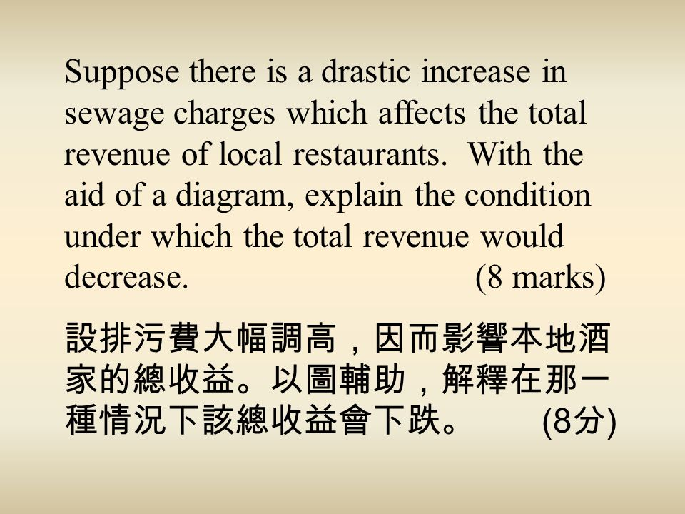 Suppose there is a drastic increase in sewage charges which affects the total revenue of local restaurants. With the aid of a diagram, explain the condition under which the total revenue would decrease. (8 marks)