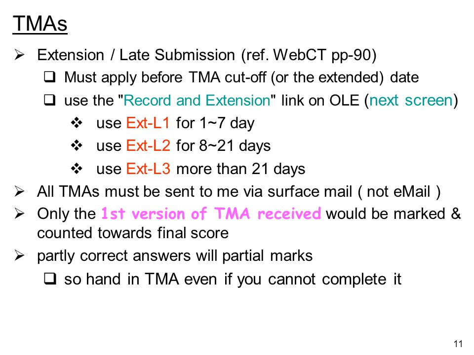 TMAs so hand in TMA even if you cannot complete it