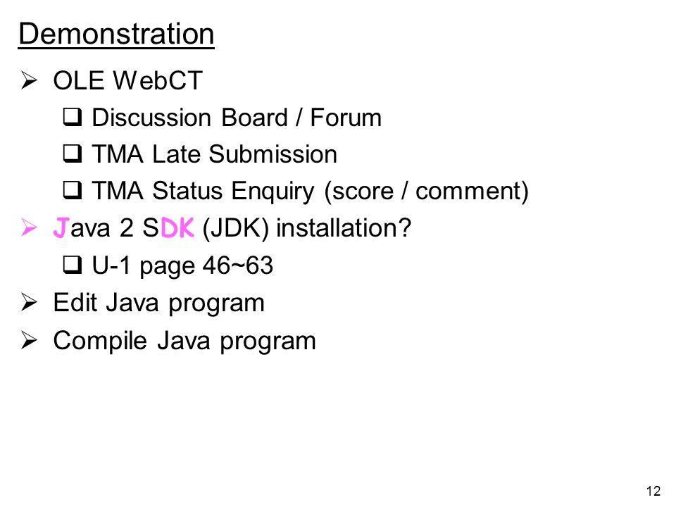 Demonstration OLE WebCT Java 2 SDK (JDK) installation