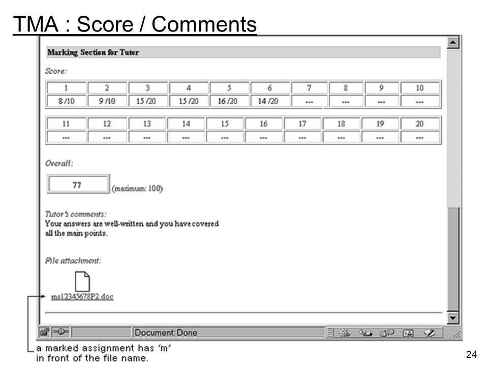 TMA : Score / Comments