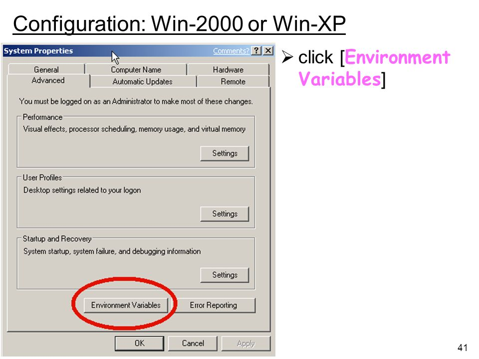 Configuration: Win-2000 or Win-XP