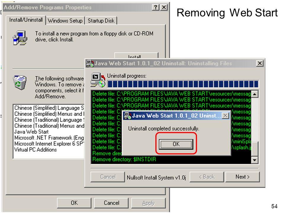 Removing Web Start