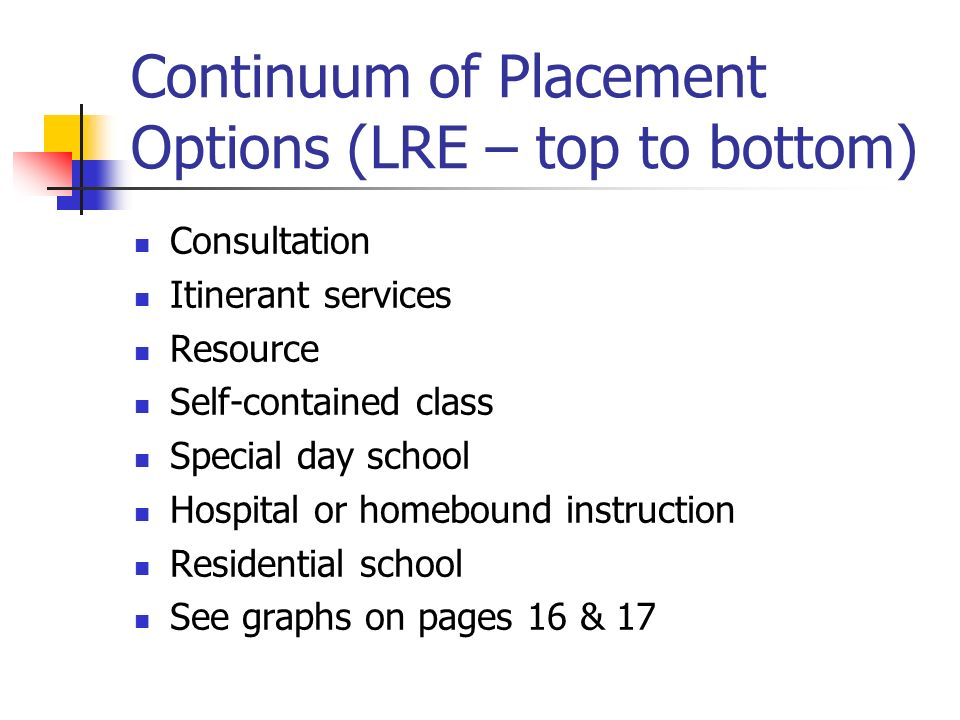 Continuum of Placement Options (LRE – top to bottom)