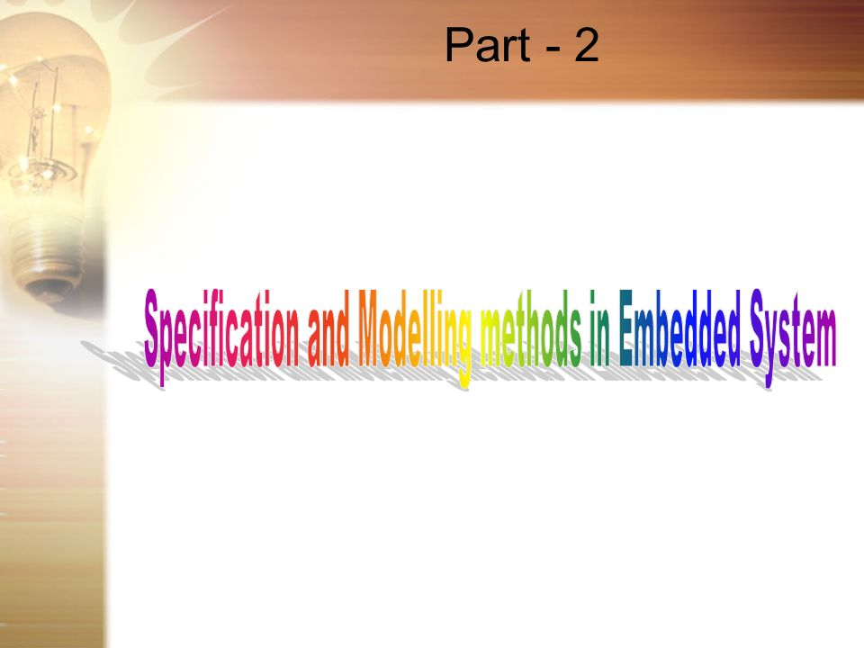 Specification and Modelling methods in Embedded System