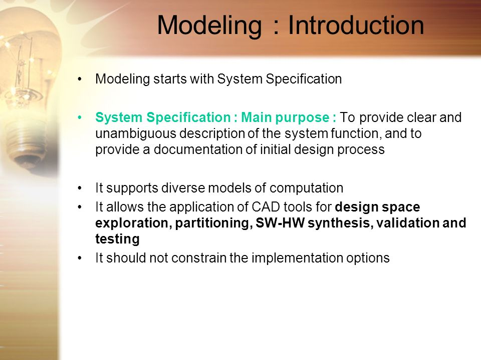 Modeling : Introduction