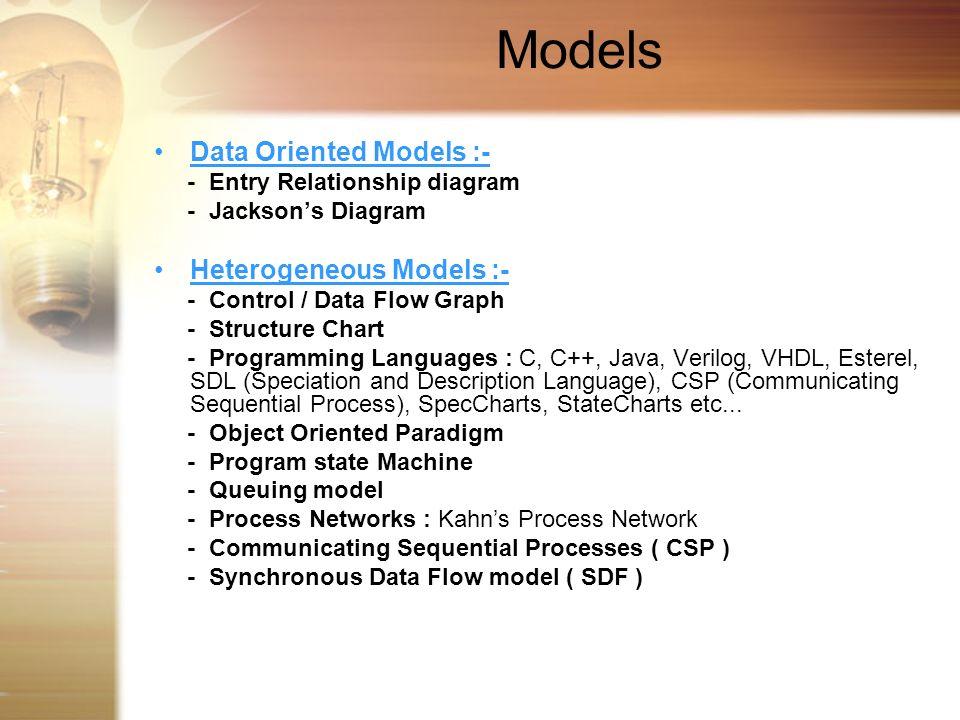 Models Data Oriented Models :- Heterogeneous Models :-