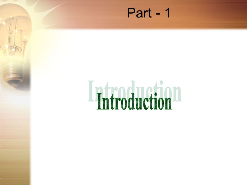 Part - 1 Introduction
