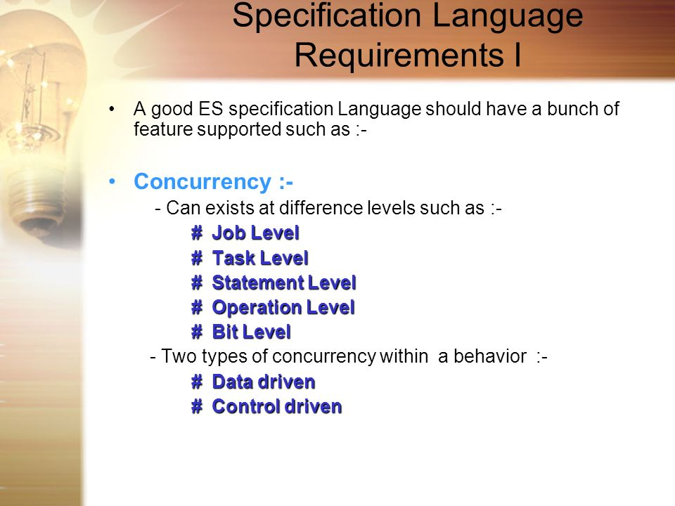Specification Language Requirements I