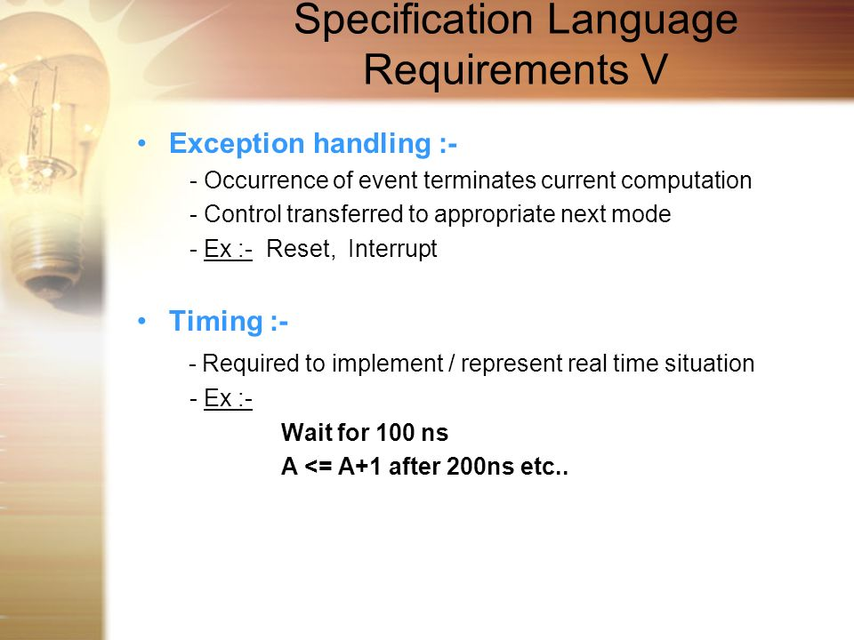 Specification Language Requirements V