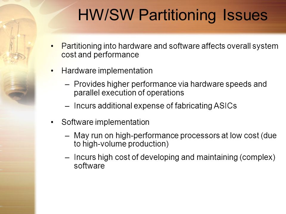 HW/SW Partitioning Issues