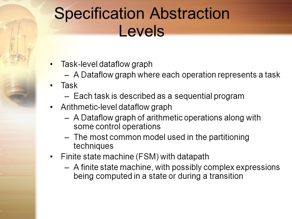 Specification Abstraction Levels