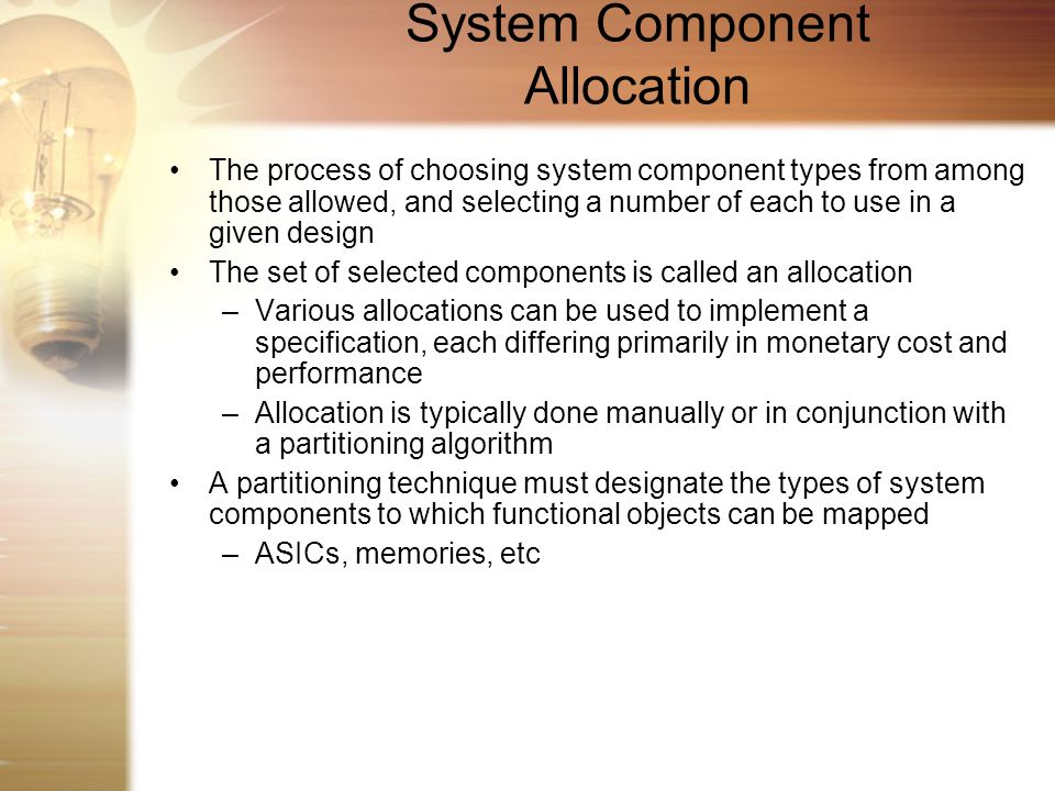 System Component Allocation
