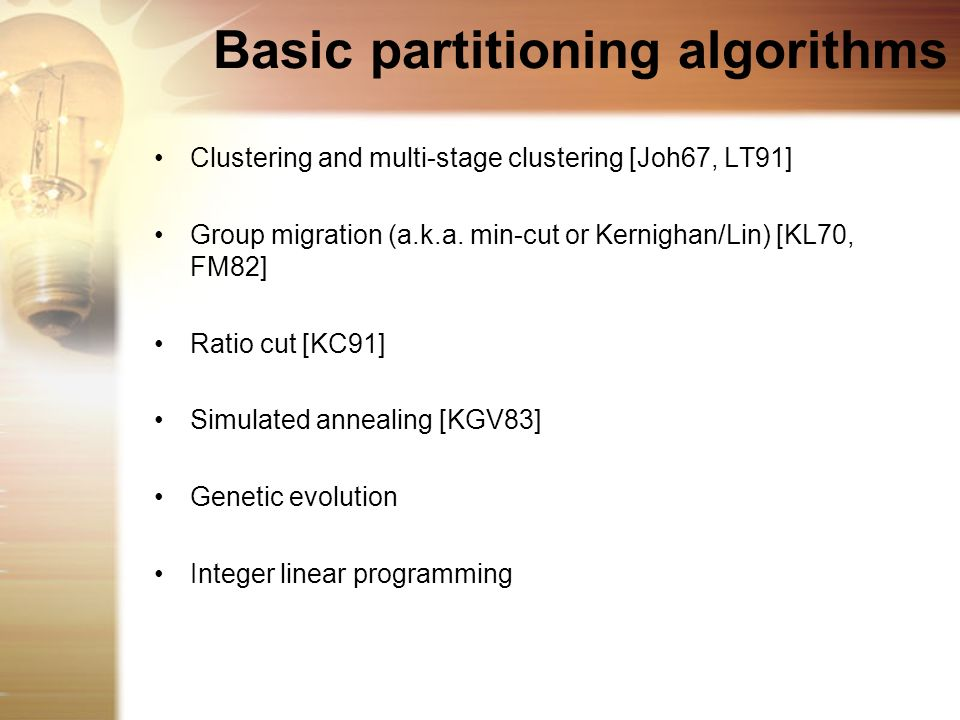 Basic partitioning algorithms