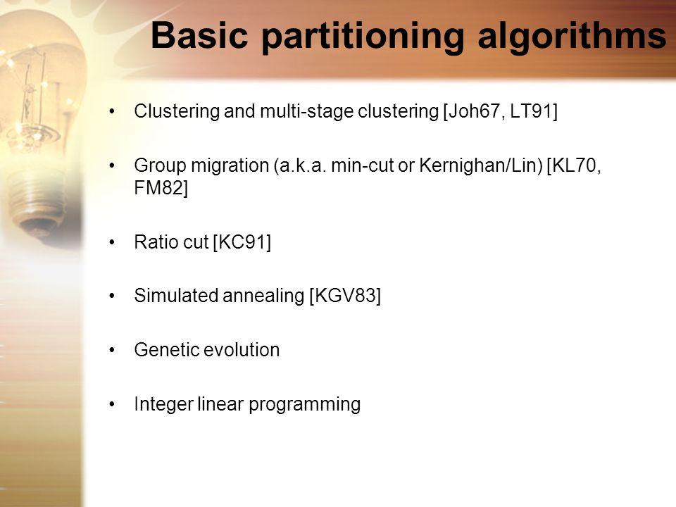 Basic partitioning algorithms