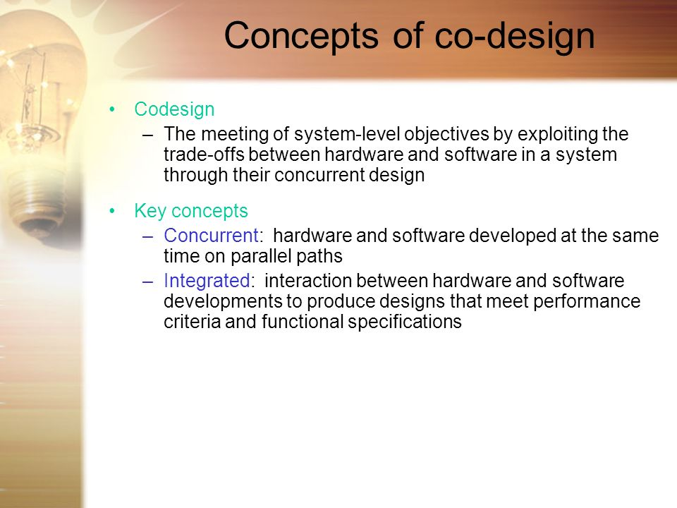 Concepts of co-design Codesign