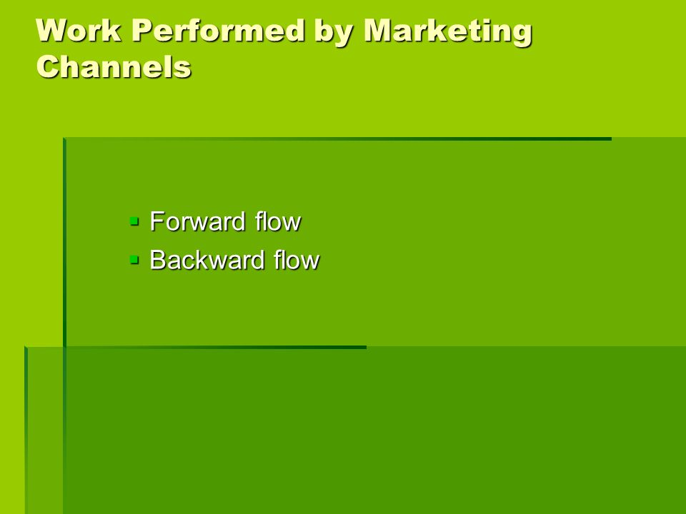 Work Performed by Marketing Channels