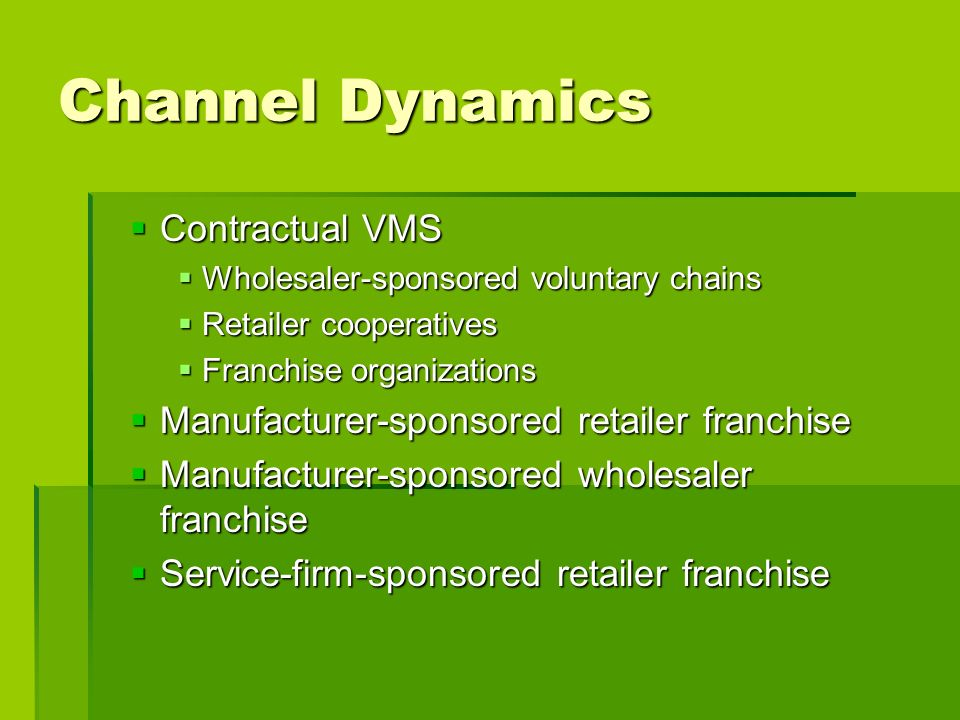 Channel Dynamics Contractual VMS
