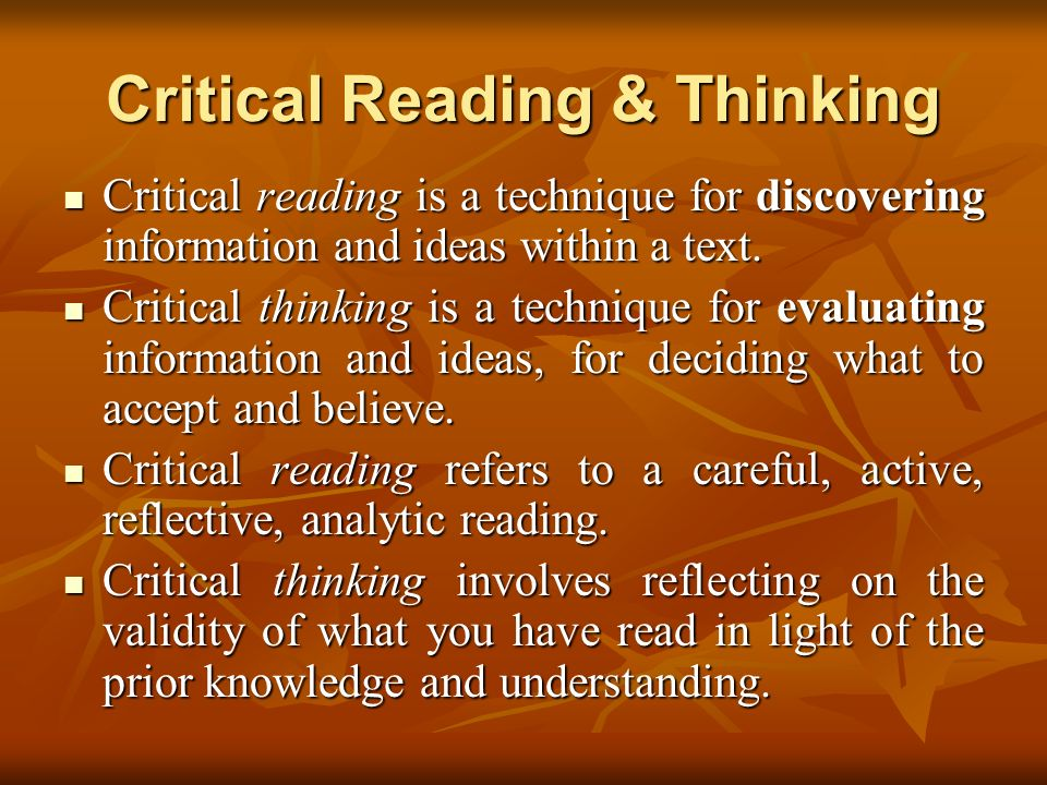 Critical Reading & Thinking