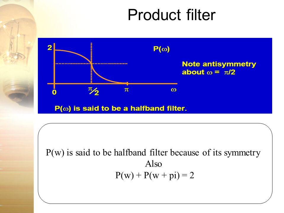 P(w) is said to be halfband filter because of its symmetry