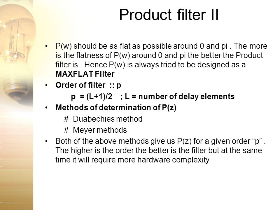 Product filter II
