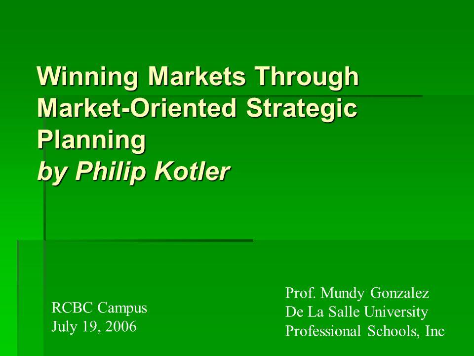 Winning Markets Through Market-Oriented Strategic Planning by Philip Kotler