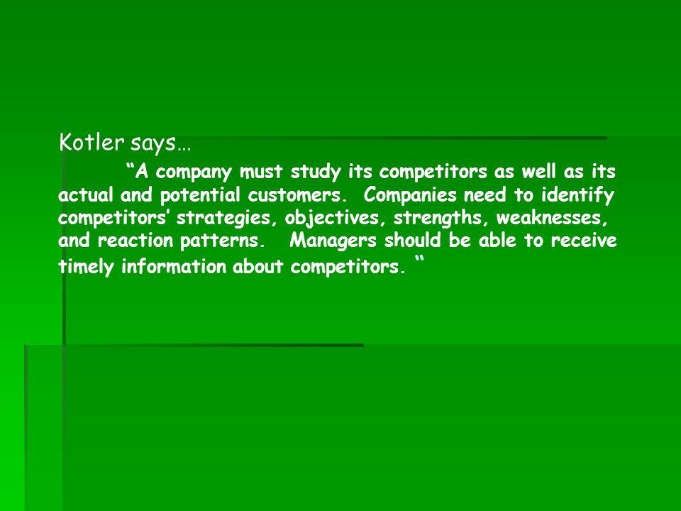 Kotler says…
