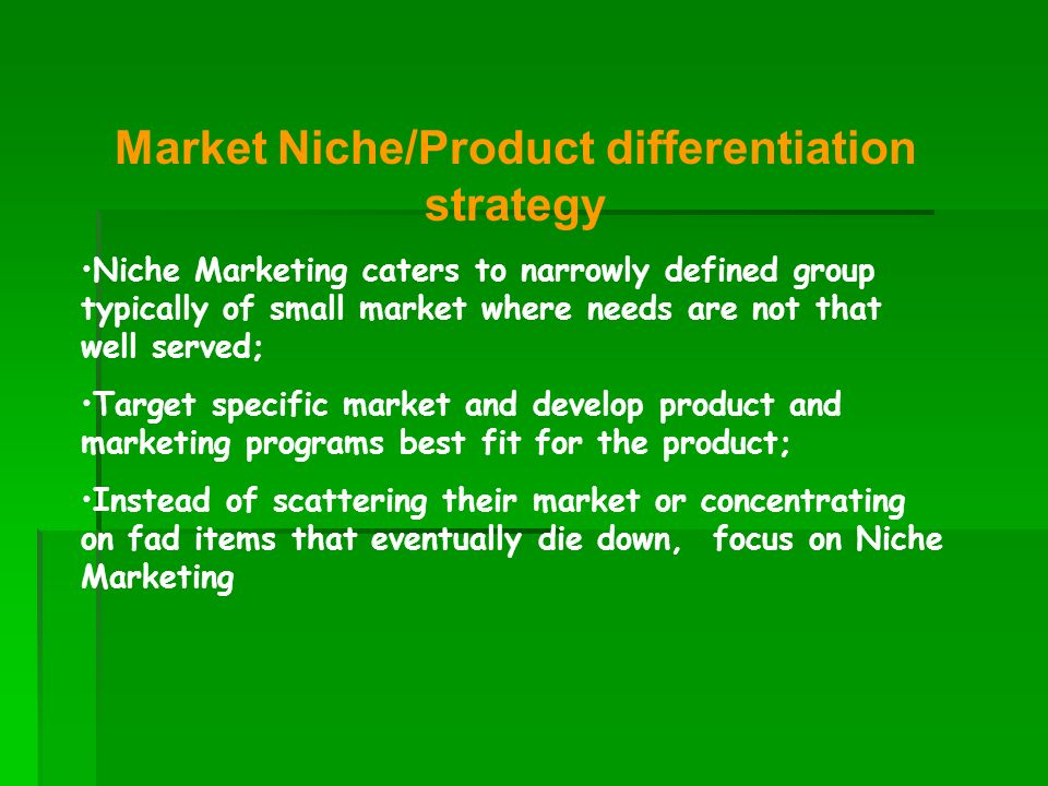 Market Niche/Product differentiation strategy