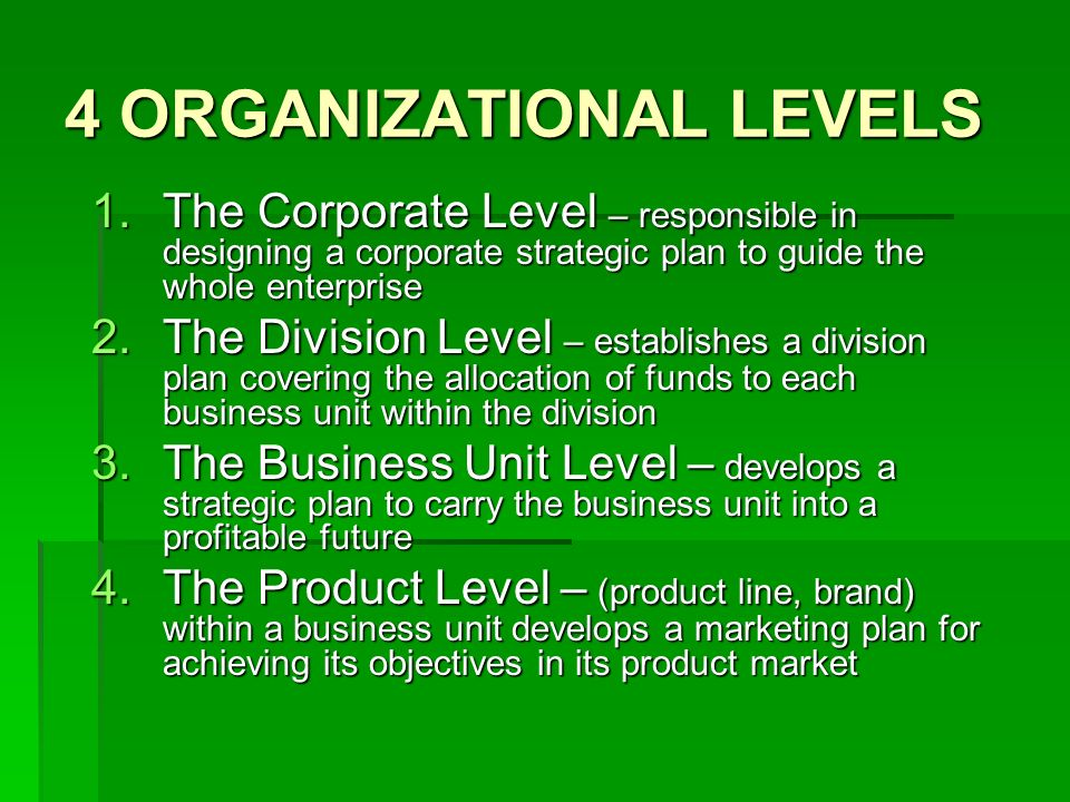 4 ORGANIZATIONAL LEVELS